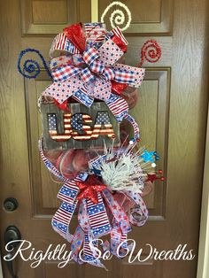 Wreath and Centerpieces for every occasion! Patriotic Wreath, Patriotic Decorations, Fourth Of July Decor, 4th Of July Wreath, Wreath Making Supplies, Door Swag, Happy Memorial Day, Trendy Tree, Floral Centerpieces