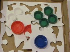 Pizza box textured puzzles