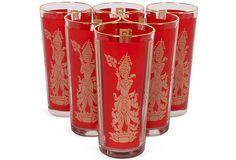 Red Stem Glasses, Set of 6    $145.00