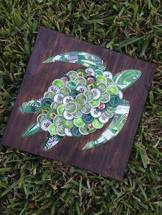 Beer/Bottle Cap Sea Turtle on Painted Wood 12x 12 by KaysCapArt, $75.00