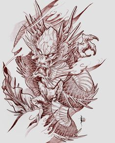 49 Ideas for tattoo dragon tiger lion Japanese Dragon Tattoos, Japanese Tattoo Art, Japanese Tattoo Designs, Japanese Sleeve Tattoos, Dragon Tattoo Sketch, Dragon Sleeve Tattoos, Dragon Tattoo Designs, Japan Tattoo Design, Sketch Tattoo Design