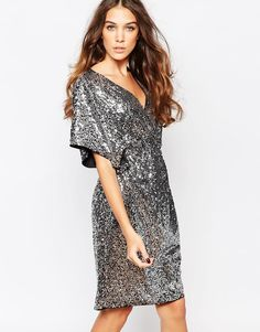 Image 1 of First & I Sequin Kimono Sleeve Dress
