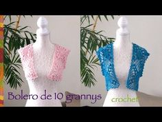 Bolero de primavera / verano con 10 grannys o grannies tejido a crochet (en varias tallas)! - YouTube