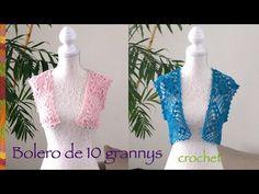 Bolero de primavera / verano con 10 grannys o grannies tejido a crochet ...