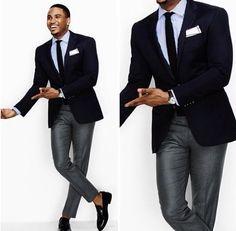 Gray Slacks + Navy Blazer = Great Suit Combo