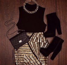 Skirt: gold, black, necklace, boots, fall outfits, outfit, purse ...