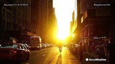 "Jul 12, 2016; 1:05 AM ET Extreme meteorologist Reed Timmer hits the Big Apple to catch ""Manhattanhenge,"" a phenomenon where the sun sets perfectly aligned with the main street grid in Manhattan!"