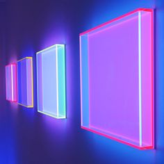 image description: three dimensional neon signs lit up with different colors like pink, blue, and indigo Fred Instagram, Luminaire Design, Purple Aesthetic, Light Installation, Neon Lighting, Light Art, Vaporwave, Neon Colors, Retro
