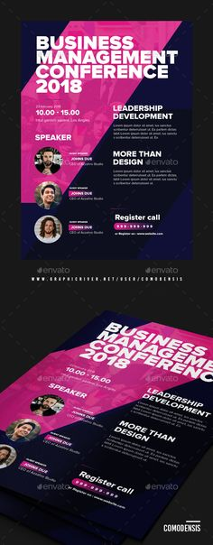 Buy Business Conference Flyer by Comodensis on GraphicRiver. 1 PSD Files Smart Object 300 dpi CMYK mm with bleed Easy to use All text editab. Flyer Layout, Poster Layout, Print Layout, Business Invitation, Business Flyer, Business Design, Business Poster, Conference Invitation, Conference Poster