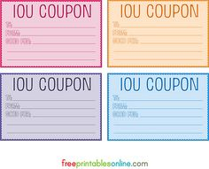 Free Printable Coupon Templates Of Colorful Free Printable Iou Coupons Diy