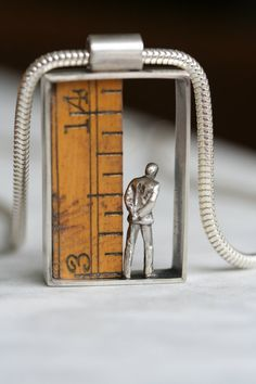Small World pendant on chain - sterling silver with contemplative man