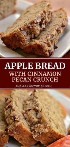 This easy Apple Bread is full of apple chunks and pecans. It is lightly sprinkled with cinnamon pecan sugar giving it a light extra crunch. Apple Recipes, Sweet Recipes, Cake Recipes, Best Apple Desserts, Apple Dessert Recipes, Loaf Recipes, Pecan Recipes, Just Desserts, Delicious Desserts