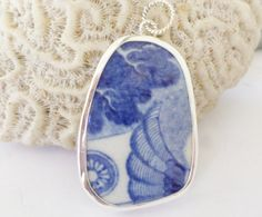 Broken China Pendant Sterling Silver Blue Abstract Old China Shard Chaney by MaroonedJewelry on Etsy