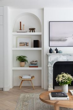 A living room renovation idea for creating a faux fireplace in any space. Custom Fireplace, Fireplace Design, Family Room Design, Family Rooms, Living Rooms, Decorating Blogs, Interior Decorating, Apartment Renovation, White Rooms