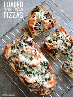 French bread pizza is a great way to use up leftover ingredients from your pantry and fridge.  Loaded French Bread Pizza - BudgetBytes.com