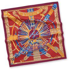 """Ceintures et Liens - Red  Silk twill scarf, hand rolled, 36"""" x 36"""""""