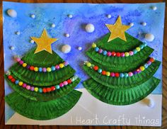 Christmas Tree Art using paper plates and pom poms.
