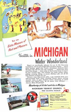 1950s Advertisement Pure Michigan Vintage Antique Retro 50s Era