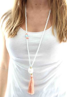 White Beaded Necklace. Long coral pink tassel necklace. Evil eye summer necklace. White and coral necklace. Summer necklace  THE WHITE CORAL NUGGET BEAD IS OUT OF STOCK SO PLEASE CHOOSE OTHER SHAPE  This summers MUST HAVE necklace!!White matt beads, Evil eye and a coral tassel!! You can wear it everyday and it is perfect with your bikini!!  Also available in other colours!!Just send me a message so we can make your preferred combination!!  Visit my shop for more little things ♥ ♥ ♥…