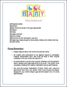 Infant Supply List printable for child care