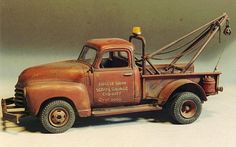 """AMT 1/25 scale 1950 Chevy """"Boom Truck"""". By Terry Jessee. The boom was built from scratch. #model_cars #scale_model http://public.fotki.com/TerryJessee/model-car-and-truck/models-for-books/50tow.html#media"""