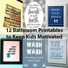 Diy Kids Bathroom Decor instant download - brush, flush, hang, and wash bathroom decor diy