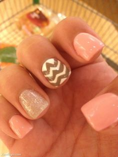 Sparkly Summer Nails  nails pink pretty nail art summer nails chevron so cute