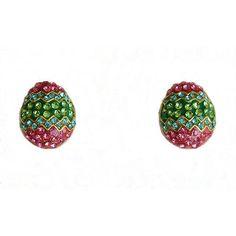 Enchanted Easter Egg Post Earrings Pastel  Pink, Green, & Blue Austrian Crystals #Stud