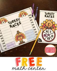Free Thanksgiving Math Center: TURKEY RACES!