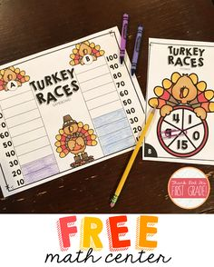 Free Thanksgiving Math Center: TURKEY RACES!