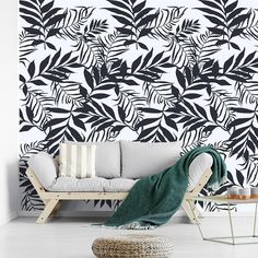 Olive Leaves Wallpaper, Black and White Wallpaper Removable, Non Woven Wallpaper, Jungle Watercolor Wallpaper, Olive Leaves Wall Mural Nursery Wallpaper, Wallpaper Jungle, Of Wallpaper, Peel And Stick Wallpaper, Leaves Wallpaper, White Nursery, Nursery Room, Removable Wall Murals, Black And White Wallpaper