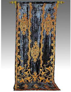 antique Victorian portiere curtain
