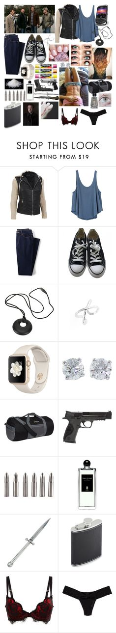 """On a hunt with Cas, Sam, Dean, and Bobby to find Crowley"" by cockles ❤ liked on Polyvore featuring RVCA, Lands' End, Converse, Gorjana, Chapstick, Tiffany & Co., Outdoor Products, Smith & Wesson, Serge Lutens and Kieselstein-Cord"