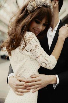 Headpieces, vintage :Lady 60s - Jane Birkin-inspired wedding editorial in Vogue Spain 2013