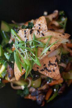 Fabulous food photography by Jackie Alpers - sweet + sour marinated shiitakes, tossed with olive + sesame oils, basil, broccoli rabe, scallions, Tohono O'odham roasted squash, chile-braised tofu: