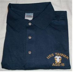 USS TANNER AGS-15 w/ OFFICERS CREST Denim Button Up, Button Up Shirts, Embroidery Services, Polo Ralph Lauren, Polo Shirt, Company Logo, Shirt Dress, Mens Tops, Dresses