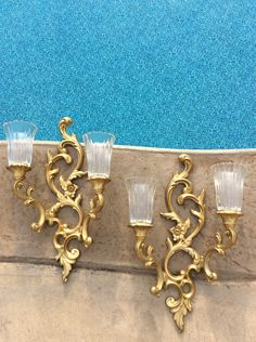 Vintage Pair of Gold,Double Arm, Syroco Sconces with Glass Votives, Hollywood Regency Decor, Shabby Chic, Glam by YellowHouseDecor on Etsy https://www.etsy.com/listing/251314740/vintage-pair-of-golddouble-arm-syroco
