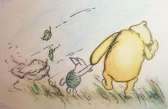 Winnie the Pooh, Classic Illustration Produced Using Watercolor Lined With Black Ball Point Pen