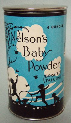 NOS, FULL NELSON'S BABY POWDER ADVERTISING TIN CHILDREN CARDBOARD CONTAINER MINT #NELSONS