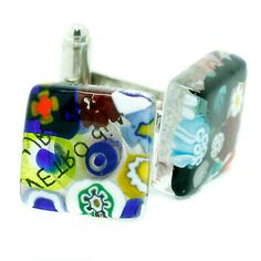 Murano Cufflinks ▷ 5.5£ | Dealsan Venetian Glass, Murano Glass, Blue And Silver, Red Gold, Venetian Wedding, Sterling Silver Cufflinks, Circular Pattern, Amber Color, Blue Earrings