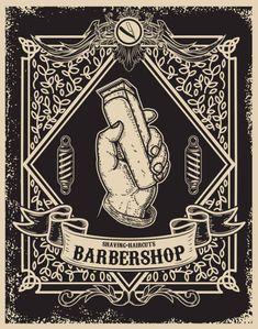 Barber shop poster template human hand with hair Vector Image , Barber Poster, Barber Sign, Barber Shop Decor, Barber Pictures, Barber Shop Quartet, Vintage Design, Design Elements, Design Art, My Images