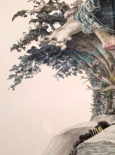 "Japan Suite visited @Japansociety ""Garden of Unearthly Delights"" this weekend, and again, blown away by Manabu Ikeda's meticulous paintings. He fills in massive 6x11 foot space with fine-point pen, one of the works here took him 2 years by working 8 hours everyday. I was surprised to hear that he does not plan ahead and just keep drawing small parts spontaneously. Foretoken, which tsunami swallowing the civilization, was painted before 2011, and in fact, removed from an"