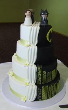 Batman grooms cake Rustic barn reception groom cake