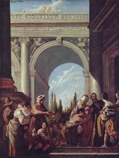 Domenico Fetti.  Gleichnis vom verlorenen Sohn. Um 1620, Öl auf Leinwand, 60 × 45cm.Dresden, Gemäldegalerie.Italien.Barock.  KO 00290