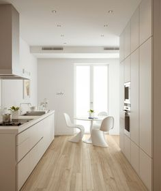 Sleek, clean and fresh this award winning Bulthaup kitchen is highly equipped Room Interior Design, Kitchen Interior, Bulthaup B1, Küchen Design, House Design, Panton Chair, Kitchen Flooring, Home Kitchens, Galley Kitchens