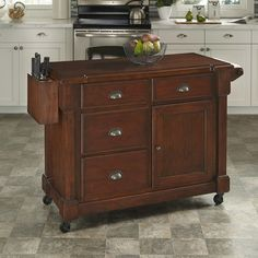 Home Styles The Aspen Rustic Cherry Kitchen Cart With Storage - The Home Depot Kitchen Utility Cart, Kitchen Island Cart, Kitchen Tops, Kitchen Ideas, Kitchen Islands, Kitchen Carts, Kitchen Reno, Kitchen Storage, Aspen Wood