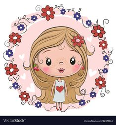 Cute Girl on a flowers background. Cute Cartoon Girl on a flowers background stock illustration Cartoon Cartoon, Drawing Cartoon Faces, Cartoon Monkey, Disney Cartoon Characters, Cute Cartoon Girl, Cartoon Kunst, Cute Drawings, Cartoon Girl Images, Flowers Background
