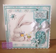 Teacher Thank you Card made using Crafter's Companion Bebunni Floral CD rom. Designed by Kelly Lloyd #crafterscompanion