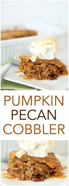 Pumpkin Pecan Cobbler Cake from SixSistersStuff.com - Fall is right around the corner and you'll want this yummy recipe on your table for any chance you get! Dessert, Thanksgiving, Party, all of the above!