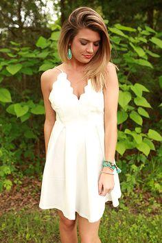 Seaside Love Scalloped Spaghetti Strap Dress in White